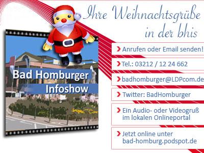 Weihnachtsgruß über die Bd Homburger Infoshow