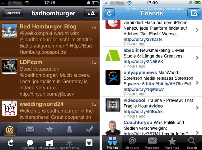 Twitter mit zwei Applikationen auf einem webfähigen Mobiltelefon
