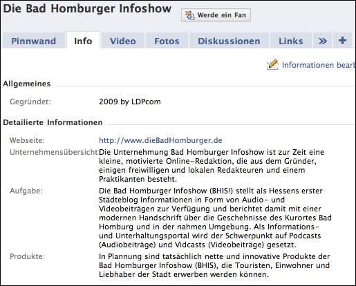 Informationstabulator mit essentiellen Informationen über die Fan-Seite der BHIS!