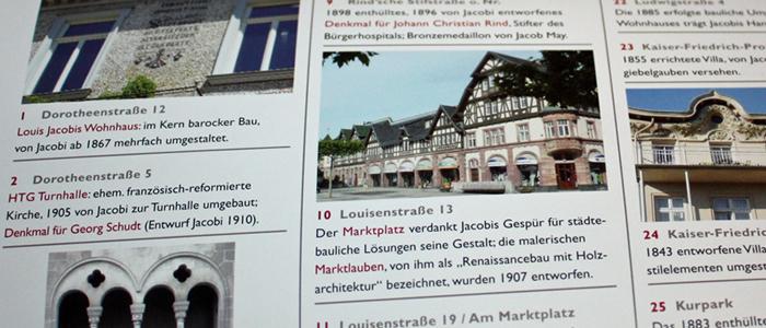 Beschreibung der Bauwerke im Stadtplan (Rückseite)