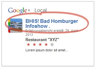 Beispiel GooglePlus Local