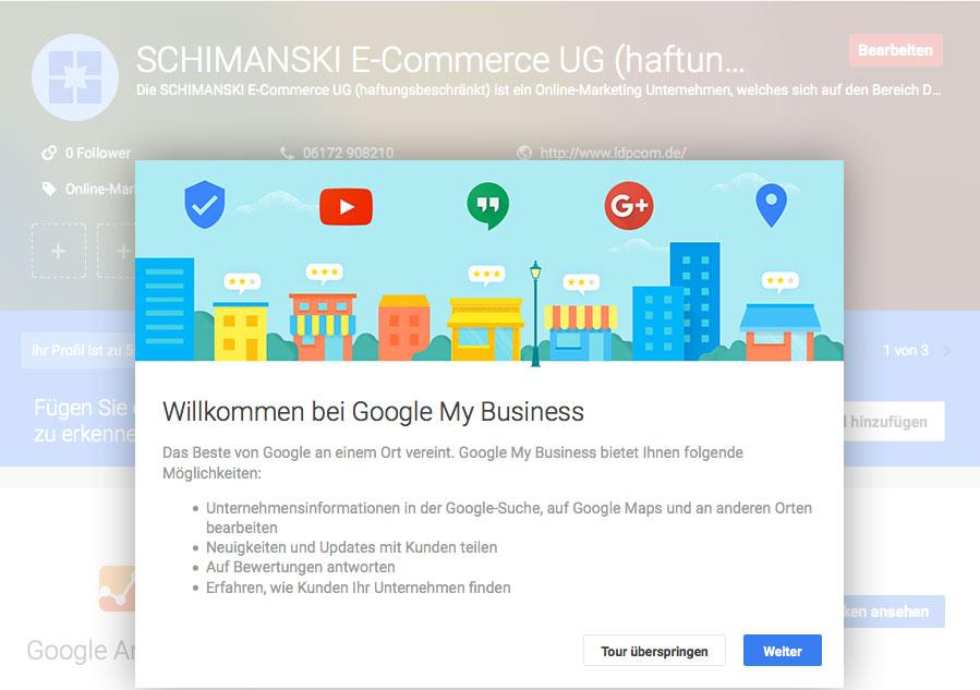 Google My Business – Eintrag auf Lokale Angebote bei BHIS!