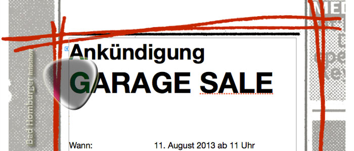 Titelbild des Garage Sale in Bad Homburg am 11.08.2013